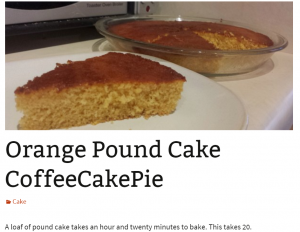 Orange Pound Coffee Cake Pie