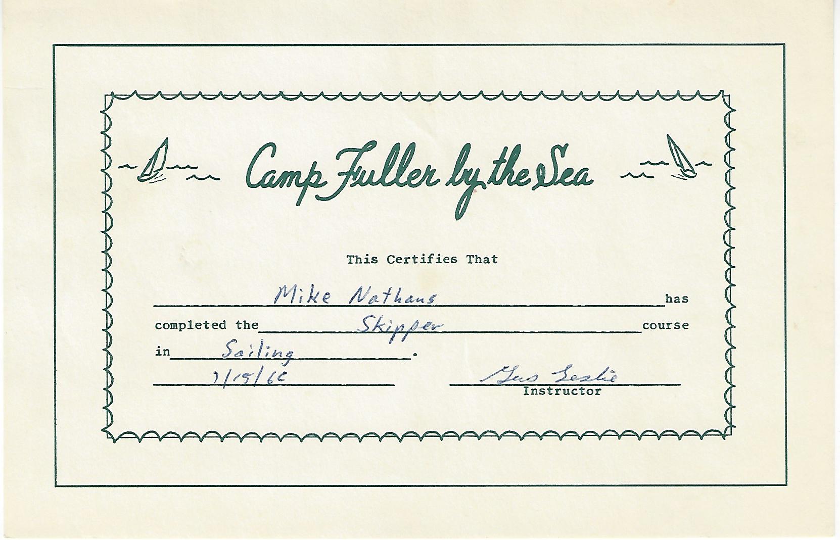 Camp Fuller Skipper Certificate 1965